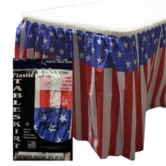 Patriotic Flag  Plastic Table Skirt