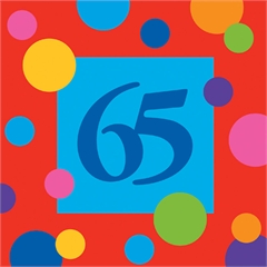 65 Birthday Dots  Beverage Napkins