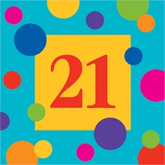 21 Birthday Stripes  Beverage Napkins