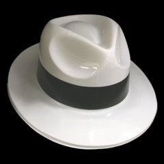 White Plastic  Gangster Hats