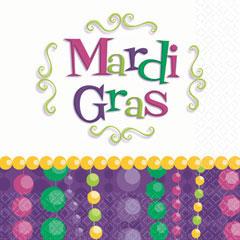 MARDI GRAS BEAD BEVERAGE NAPKINS
