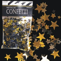 SUPER STARS CONFETTI / Our really big bag of metallic star confetti is perfect for New Year's, Hollywood, Birthday or Anniversary parties or anytime black, gold and silver stars fit your decor. Use to stuff invitations, decorate tables or just to throw in the air. Our 2 1/2 ounce of gold, silver and black star confetti is sold by the bag. Please order in increments of 1 bag.