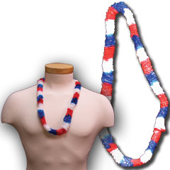 RED, WHITE, BLUE  PLASTIC LEIS