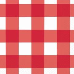 RED GINGHAM LUNCH NAPKINS
