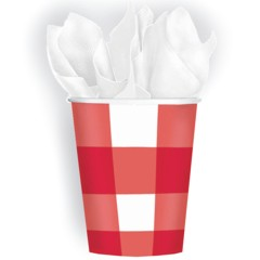 RED GINGHAM 9 oz. CUPS