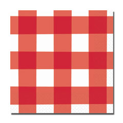 RED GINGHAM BEVERAGE NAPKINS
