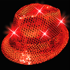 Red Sequin  L.E.D. Fedora